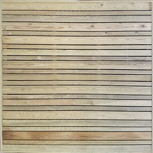 Horizontal slatted trellis London - treated redwood
