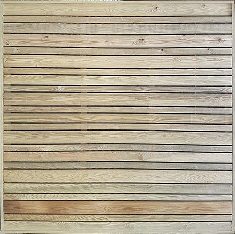 Horizontal slatted trellis London - treated redwood