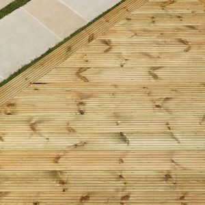 Softwood decking + hardwood