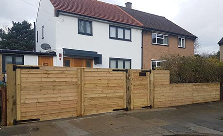 Bespoke Driveway Gate, Single Gate and side fencing using Tongue and Groove  Cladding Treated timber