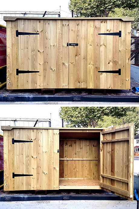 Bike shed made with pressure treated timber and v-joint cladding