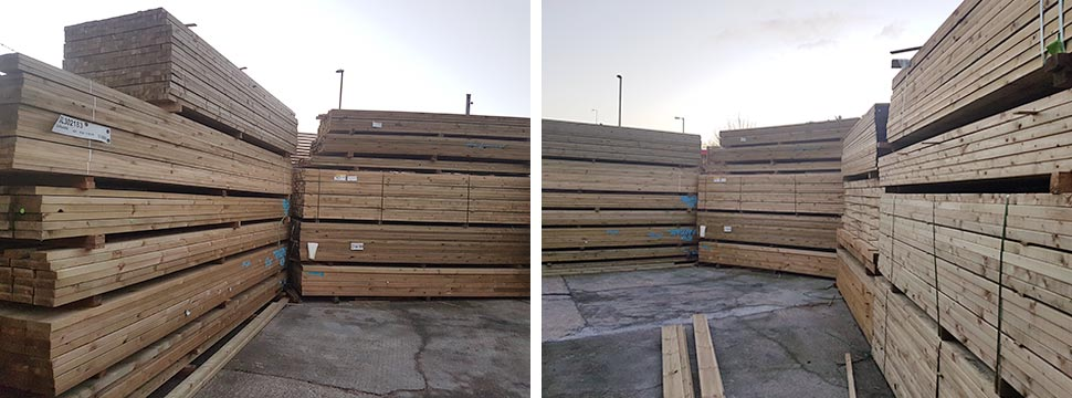 Wood yard carcassing timber