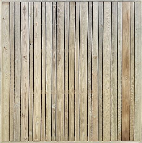 Vertical slatted trellis London - treated redwood