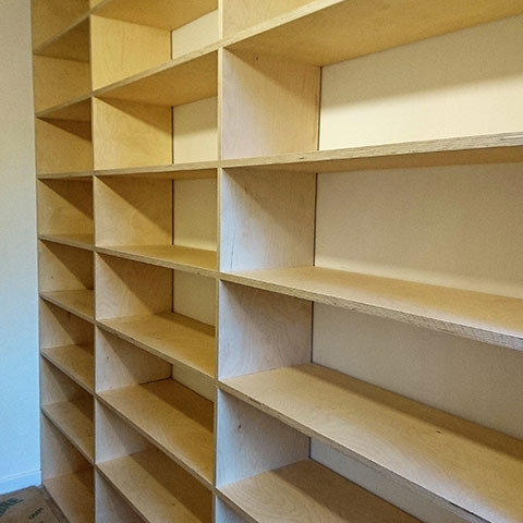 Shelving using birch ply