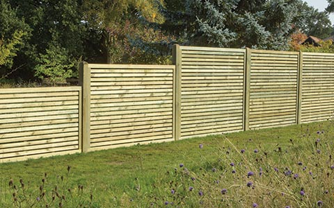 Slatted fence panels