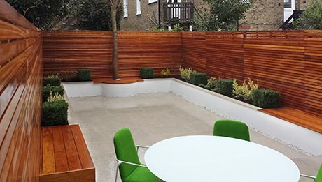 Iroko fencing trellis & seating